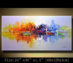 contemporary wall art,, Modern Textured Painting,Impasto Landscape Textured Modern Palette Knife Painting,Painting on Canvas byChen xx04