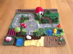 Crochet road and farm playmat