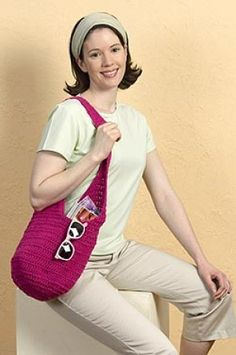 Easy Crocheted Bag: I'm going to make this with cotton yarn dip dyed