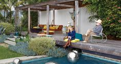 Palisades Pavilions - Los Angeles Magazine If I had a Pool...love the rustic feel here...