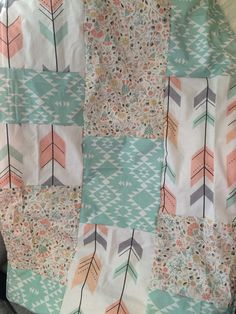 Quilt or Blanket in blush desert floral and aztec arrows 4 different sizes…