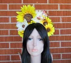 Sunflower Crown, Floral Crown, Flower Crown Headband, Flower Head Wreath, Floral Headpiece, Festival, Easter, EDC, Day of the Dead, Spring by rainbowgoddessdesign on Etsy
