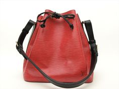 Louis Vuitton Authentic Epi Leather Red Black Petit Noe Shoulder Tote Bag LV #LouisVuitton #TotesShoppers