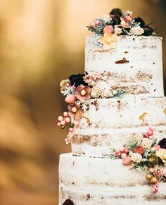Go Naked: 10 Gorgeous Unfrosted Wedding Cakes Like Angelina Jolie's - Shabby Chic from InStyle.com