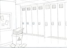 school hallway drawing - HD1600×1161