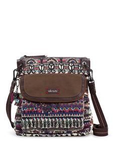 "Cream ""One World"" Artist Circle Flap Crossbody 