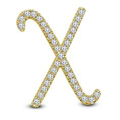 14k Yellow Gold On 925 Sterling Silver Round Cut White Diamond X Initial pendant #adorablejewelry #XInitalPendant