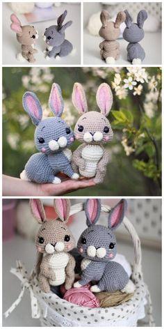 Bunny Amigurumi Free Pattern Crochet Bear, Crochet Animals, Crochet Dolls, Free Crochet, Crocheted Toys, Amigurumi Patterns, Crochet Patterns, Rabbit Toys, Diy Toys