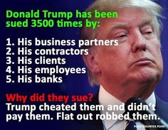 Is Donald Trump a crook? 3,500 examples exist showing he is.