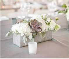 white, green and muted purple centerpiece idea