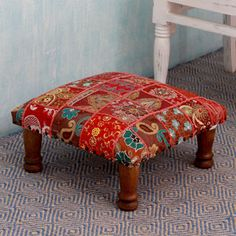 Rajasthan Illusions Sheesham Wood with Multicolor Patchwork in Shades of Red…
