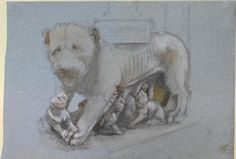 Ruskin, John - Sketch of Lioness and Cubs from Nicola Pisano's Siena Pulpit