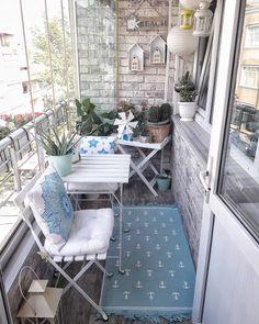 Small balcony, Balcony, Blue, Balcony table, Small house - Home Design Small Balcony Design, Small Balcony Decor, Balcony Ideas, Apartment Balcony Decorating, Apartment Balconies, Apartments, Apartment Ideas, Balcony Furniture, Outdoor Furniture Sets
