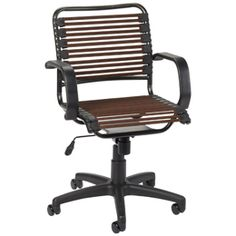The Container Store > Chocolate Flat Bungee Office Chair with Arms. Reviews are favorable and the price is right.