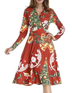 Zeakee Women Ladies Christmas Santa Claus Floral Print Wrap V Neck Long Sleeve Party Dress Red X-Large
