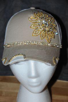0a19eed7b80 Items similar to Women s Trucker Hat. Baseball Hat. Women s Hat. Rhinestone  appliqué. hat.Khaki. Tan. snap back.rhinestone. bling. cap. on Etsy