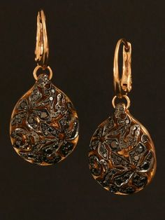 Pomellato 18KT Rose Gold Brown Diamond Earrings from the Arabesque Collection. Available at London Jewelers.