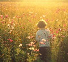 Deze foto heet veld van dromen en als je er naar kijkt, heb je ook het gevoel dat je in een droom zit. Het bloemenveld en de kleine jongen krijgen door het tegenlicht een mooi effect, het haar van de jongen licht op met een gouden gloed.
