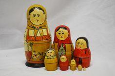 Antique Russian Nesting Dolls Carrot Matryoshka Folk Art Wood Wooden Figures Toy | eBay