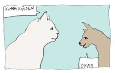 Illustration-Cartoon-Katze-Hund-Komm-kuessen