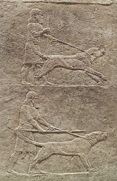 The Royal lion hunt reliefs from the Assyrian palace at Nineveh, about 645-635 B.C., housed at the British Museum.