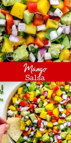 My mango salsa recipe is a perfect easy summer appetizer that is great with tortilla chips, and wonderful as a topping on tacos, chicken or fish. Mango Salsa, Cobb Salad, Spicy, Appetizers, Healthy, Ethnic Recipes, Easy, Food, Appetizer