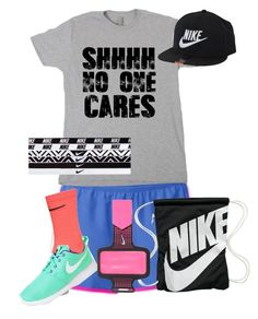 """""""Track practice: Shhhh...No one cares"""" by sghotra ❤ liked on Polyvore featuring The North Face and NIKE"""