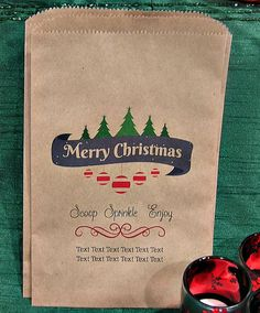 Personalized Christmas Candy Treat Bags - Christmas Popcorn Bar Bags - Rustic Christmas Party - (Set of 10) HOLID-916