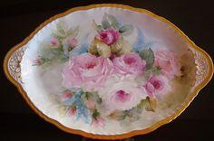 "Antique Haviland Limoges Hand Painted Large Plate Platter Tray Roses 19"" | eBay"