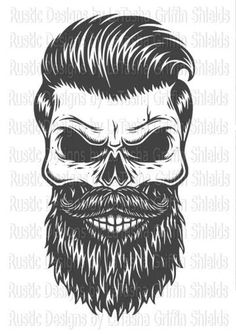 Monochrome illustration of skull with beard, mustache, hipster haircut, sunglasses with big city reflection and headphones. Isolated on white background Skull Tattoos, Rose Tattoos, New Tattoos, Hand Tattoos, Butterfly Tattoos, Flower Tattoos, Sleeve Tattoos, Beard Logo, Beard Tattoo