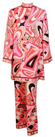#vintage couture #pattern #pink   Groovy Emilio Pucci outfit, 1960s