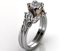 14k two tone white and rose gold diamond unusual by Jewelice, $1,435.00