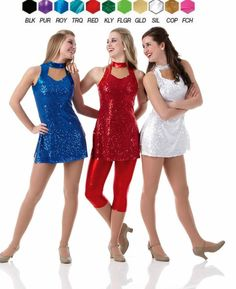 ALLURING Sequin TUNIC TOP/DRESS Dance Costume Adult & Child Sz Christmas Colors #Cicci