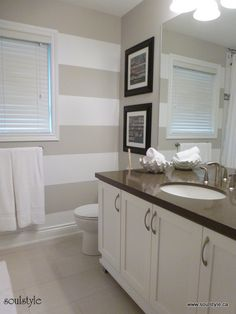 Main Bathroom Renovation / Love the colors and the accent wall with stripes.