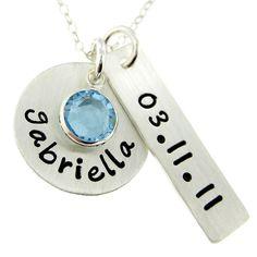 Hand Stamped Jewelry  Baby Shower Gift  New by jcjewelrydesign, $42.00