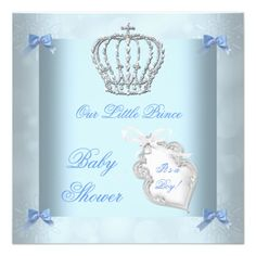 Elegant Prince Baby Shower Boy Blue Little Prince Personalized Invitations Party Invitations by Zizzago.com