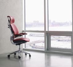 Freedom Headrest Chair Humanscale Niels Diffrient Textiles Red Leather Fabric Office Chair Design Ergonomic Office Furniture Ergonomic Office Chair