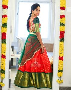 SOLD For orders/queries Call/ what's app us on 8341382382 or Mail us… Lehenga Designs Simple, Wedding Saree Blouse Designs, Half Saree Designs, Pattu Saree Blouse Designs, Wedding Silk Saree, Fancy Blouse Designs, Lehenga Saree Design, Half Saree Lehenga, Saree Dress