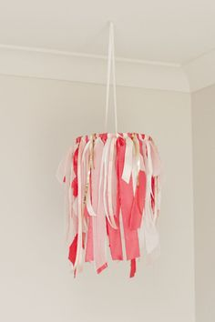 Fabric and Ribbon Baby Mobile - Raspberry