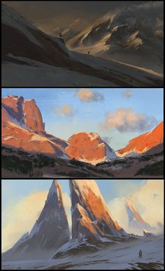 sketches, florent lebrun : playing with colors , too much rocks though^^ (the one in the middle is a study of Bill Anton)