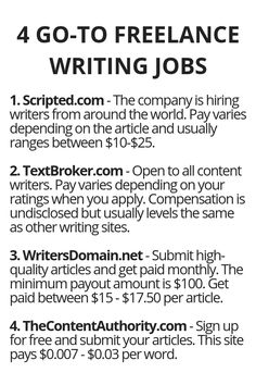 4 Go-to Freelance Writing Jobs - Wisdom Lives Here Ways To Earn Money, Earn Money From Home, Money Tips, Way To Make Money, Money Fast, Legit Work From Home, Work From Home Jobs, Online Earning, Online Jobs