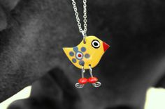 Yellow whimsical bird pendant yellow pendant by HorakovaDesigns, $17.00