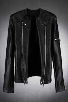 Black Faux Leather Wrinkled Shoulder Detail Rider Jacket. Damon  SalvatoreGazdaFérfi DivatKabátok 52aae88be1