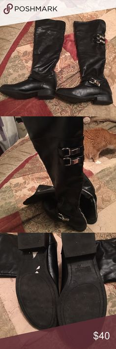 🎉GUC Tall black Leather Boots🎉 ❣️Awesome GUC wicked comfortable black leather tall boots that you can wear up or you can fold the top down for a cuffed look, very versatile. Silver buckles accent the boots and they have a full silver back zipper and are also fur lined for winter warmth. I've had shoulder surgery so getting these zipped up is tough for me so they need a new owner who can and will wear them and love them like I do. No scuffs that I've seen and the bottoms look pretty new(…