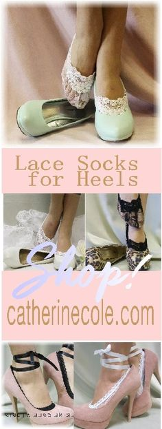 Lace socks for heels and flats. Make any pair of shoe special wearing of lovely lace socks. Just adding a little lace to your wedding! Sock Shoes, Cute Shoes, Me Too Shoes, Shoe Boots, Fashion Shoes, Fashion Accessories, Wedding Accessories, Wedding Socks, Sexy Socks