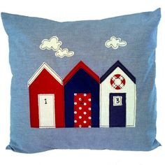 The Beach Hut cushion by Jo Fulham Textiles for From the Wilde Applique Pillows, Sewing Pillows, Applique Patterns, Applique Designs, Nautical Cushions, Nautical Quilt, House Quilt Patterns, House Quilts, Colchas Quilting