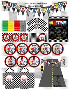 PRINTABLE NASCAR Inspired Party Decoration Kit-Customized decorations, invitations and party favours. Everything you need to celebrate your race themed party.  DIY printing and assembling.   By sweete1976, $25.00