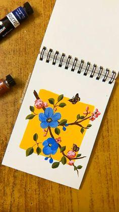 Small Canvas Art, Mini Canvas Art, Simple Flower Painting, Simple Paintings, Canvas Paintings, Watercolor Art Lessons, Watercolour, Doodle Art Designs, Art Painting Gallery