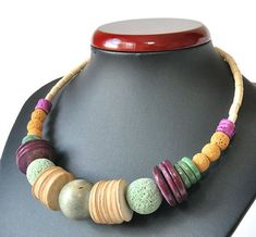 3535 natural necklace, boho style, hippi style, ethnic, wood, lava, howlite, natural materials