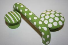 "3"" Green and White Polka Dot Pull Handle- Matching Striped or Polka Dot Knobs Available"
